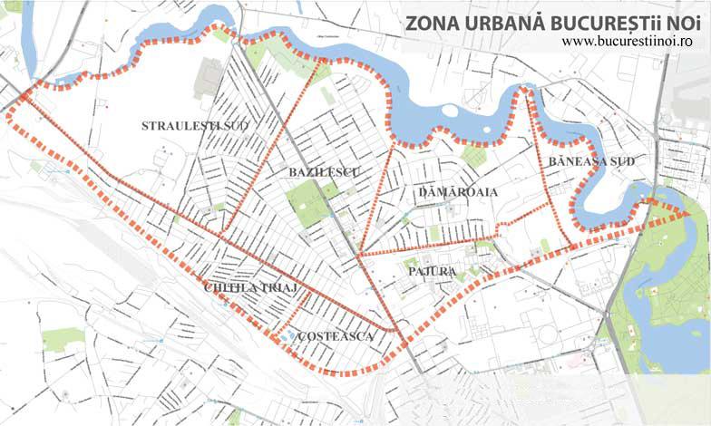 zona urbana bucurestii noi harta cu cele sapte cartiere